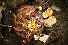 Roasted skewer with meals and vegetables. Stock Image