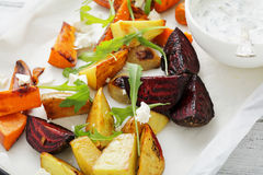 Roasted slice potato, carros and beets. Food closeup Stock Image
