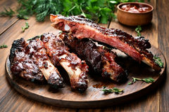 Roasted sliced barbecue pork ribs royalty free stock images