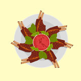 Roasted sliced barbecue pork ribs. With sause and basil. isolated on white background. Flat  stock illustration Stock Photo