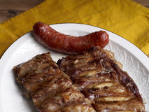 Roasted sliced barbecue ribs pork Stock Photography