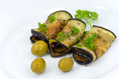 Roasted slices of eggplant,chestnuts,vegetable,che Stock Photos
