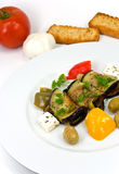 Roasted slices of eggplant,chestnuts,vegetable,che Royalty Free Stock Photography