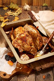 Roasted small turkey for celebration Thanksgiving day Royalty Free Stock Photos
