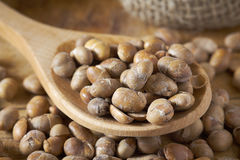 Roasted soybeans soy nuts. Closeup of roasted soybeans soy nuts in wooden spoon royalty free stock photography
