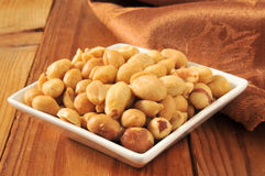 Roasted Spanish Peanuts. Salted, roasted Spanish peanuts in a small white bowl royalty free stock image
