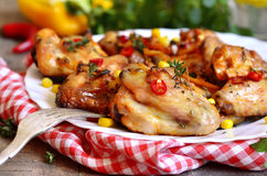 Roasted spicy chicken wings. Royalty Free Stock Photography