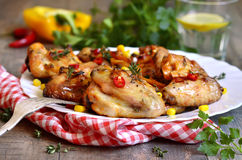 Roasted spicy chicken wings. Stock Image