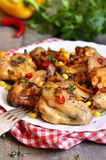 Roasted spicy chicken wings. Stock Images