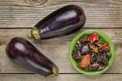 Roasted spicy eggplant salad Royalty Free Stock Images