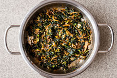 Roasted Spinach in pan. Stock Image