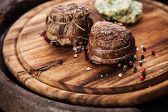 Roasted steak filet mignon and herb butter Royalty Free Stock Photos