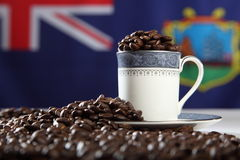 Roasted StHelena Island coffee beans with flag Stock Photos