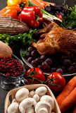 Roasted stuffed holiday turkey. Roasted holiday turkey garnished with sourdough stuffing and fruit Royalty Free Stock Photos