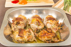 Roasted stuffed quail Royalty Free Stock Images
