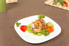 Roasted stuffed quail Stock Photo