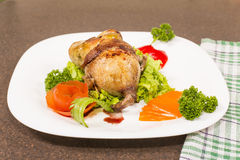 Roasted stuffed quail Royalty Free Stock Photography
