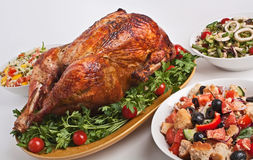 Roasted Stuffed Turkey in a Dish Stock Images
