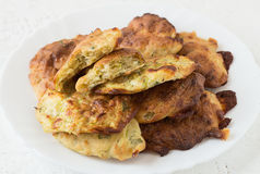 Roasted Summer Squash Rissoles. On a White Plate Royalty Free Stock Images