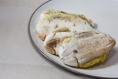 Roasted  sweet banana on a dish Stock Photo