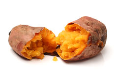 Roasted sweet potatoes. On a white background Royalty Free Stock Image