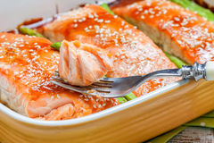 Roasted teriyaki salmon with asparagus Royalty Free Stock Photo