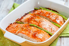 Roasted teriyaki salmon with asparagus Stock Image