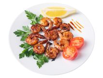 Roasted teriyaki shrimps Stock Photo