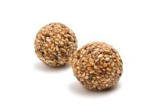 Roasted thala balls. On white background Royalty Free Stock Photo