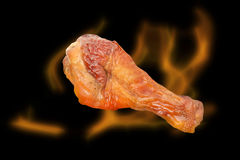 Roasted thigh chicken on black background Royalty Free Stock Photo