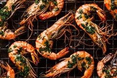Roasted tiger prawns close up Stock Photos