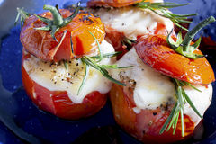 Roasted tomatoes cheese Royalty Free Stock Images