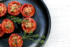 Roasted Tomatoes with Garlic and Thyme Stock Images