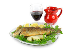 Roasted trout on the fish plate with parsley, lemon, potato, olives and wine Stock Photography