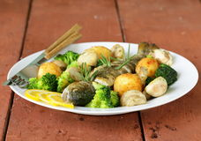 Roasted trout fish with vegetables and lemon Royalty Free Stock Photography