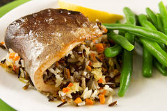 Roasted trout with rice. Roasted trout with mixed rice stuffing stock images