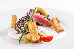 Roasted tuna steaks Stock Photo