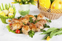 Roasted turkey. Plate of roasted turkey with easter egg and flowers decoration stock images