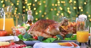 Roasted turkey for celebrating Thanksgiving Day stock video