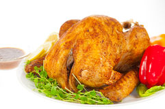 Roasted Turkey for Christmas with chill and Lemon Royalty Free Stock Photography