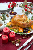 Roasted Turkey for Christmas Dinner. Roasted herb rubbed turkey garnished with fresh grapes, oranges, and cranberry is ready for Christmas dinner. Ornaments Stock Photography