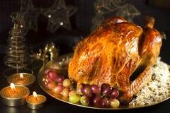 Roasted turkey for Christmas Stock Photos