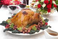 Roasted Turkey and Christmas Tree Royalty Free Stock Image