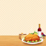 Roasted Turkey on Decorated Table Royalty Free Stock Photos