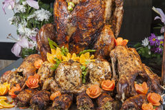 Roasted turkey and duck at a restaurant buffet carvery Royalty Free Stock Photos