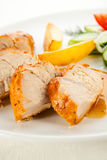 Roasted turkey fillet. Roasted chicken fillet and vegetables stock photo