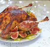 Roasted turkey with fruits stock photography