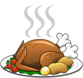 Roasted Turkey with garnish on plate isolated Stock Images