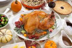Roasted Turkey on Harvest Table Stock Images