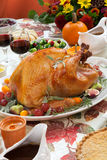 Roasted Turkey on Harvest Table Stock Photo